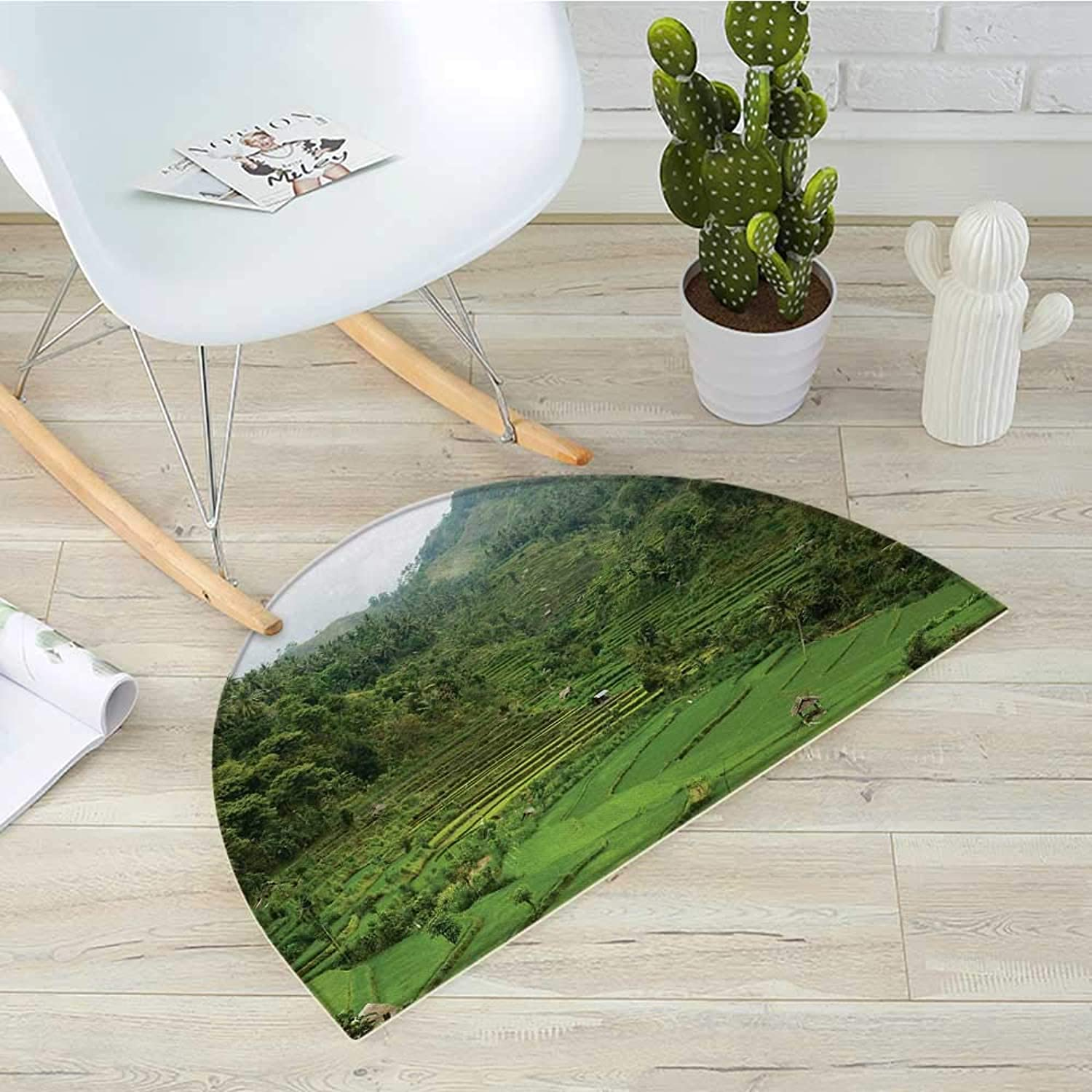 Balinese Semicircular CushionTerraced Rice Paddies in Hillside Tropical Valley Asian Farming Life Agriculture Theme Entry Door Mat H 39.3  xD 59  Green
