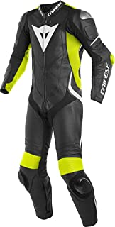 Dainese Laguna Seca 4 1PC Perforated Leather Suit (Black/Fluo-Yellow/White, 54)