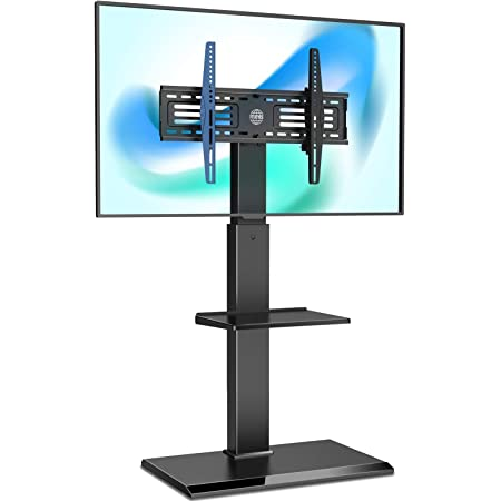 FITUEYES Floor Swivel TV Stand for 65 Inch Flat Panel Curved TV with Adjustable Shelf, Television Stands Corner TV Stand for Bedroom, Living Room, Black, FT-S2601MB