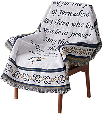 GSJJ Throws Blanket Reversible Pattern Starry Sky Bible Tassel Cotton Multifunction Sofa Chair Bed Protective Cover Decoration for All Seasons,Bible,160220cm