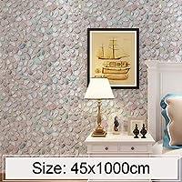 家の装飾の壁のステッカー グレート石畳のクリエイティブ3Dストーンブリック装飾壁紙ステッカーのベッドルームリビングルームの壁防水の壁紙ロール、サイズ:45×千センチメートル
