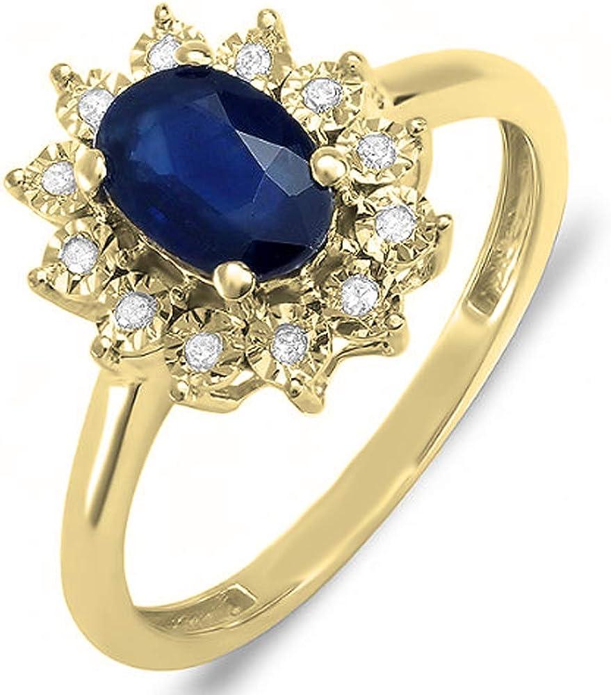 Dazzlingrock Collection Kate Middleton Diana Inspired 18K Gold Diamond & Blue Sapphire Royal Bridal Ring