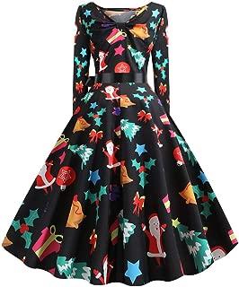 Womens Vintage Christmas Santa Dress,Funny Print Long Sleeves Xmas Dress