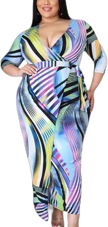 Women's V-Neck Sexy Wrap Bodycon Clubwear Plus Size Night Party Maxi Dresses