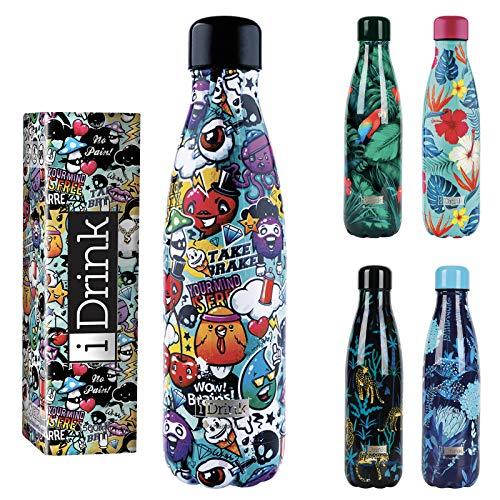 I-Drink - Trinkflasche 350/500/1000 ML Thermoflasche aus Stahl (350 ML, Graffiti)