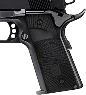 Cool Hand 1911 Slim G10 Grips, Screws Included, Full Size (Government/Commander), 3/16 Thin, Big Scoop, Ambi Safety Cut, Sunburst w/Punisher Texture, These Grips Only Work with Short Bushings