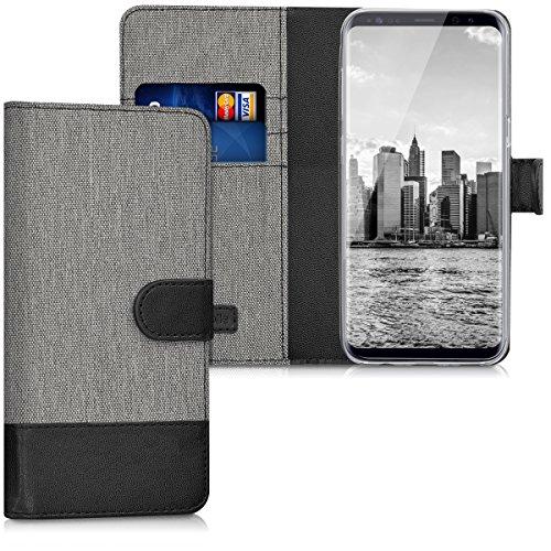 kwmobile Wallet Hülle kompatibel mit Samsung Galaxy S8 - Hülle Kunstleder mit Kartenfächern Stand in Grau Schwarz