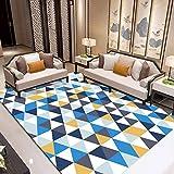 dusg Tapis Design Moderne Triangle Bleu Gris Jaune 80 × 120CM Rug Salon tradtionnel