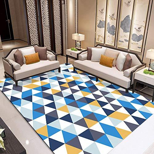 dusg Tapis Design Moderne Triangle Bleu Gris Jaune 120 × 160CM Rug Salon tradtionnel