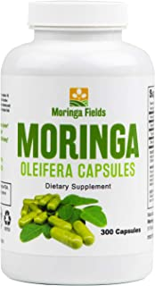 Moringa Oleifera Superfood - 300 Capsules, 400mg Each, 100% Raw, Potent, Rich Green Color, Natural, Non-GMO with Vitamins, Minerals, Amino Acids, Plant Protein, Anti-inflammatories and Antioxidants