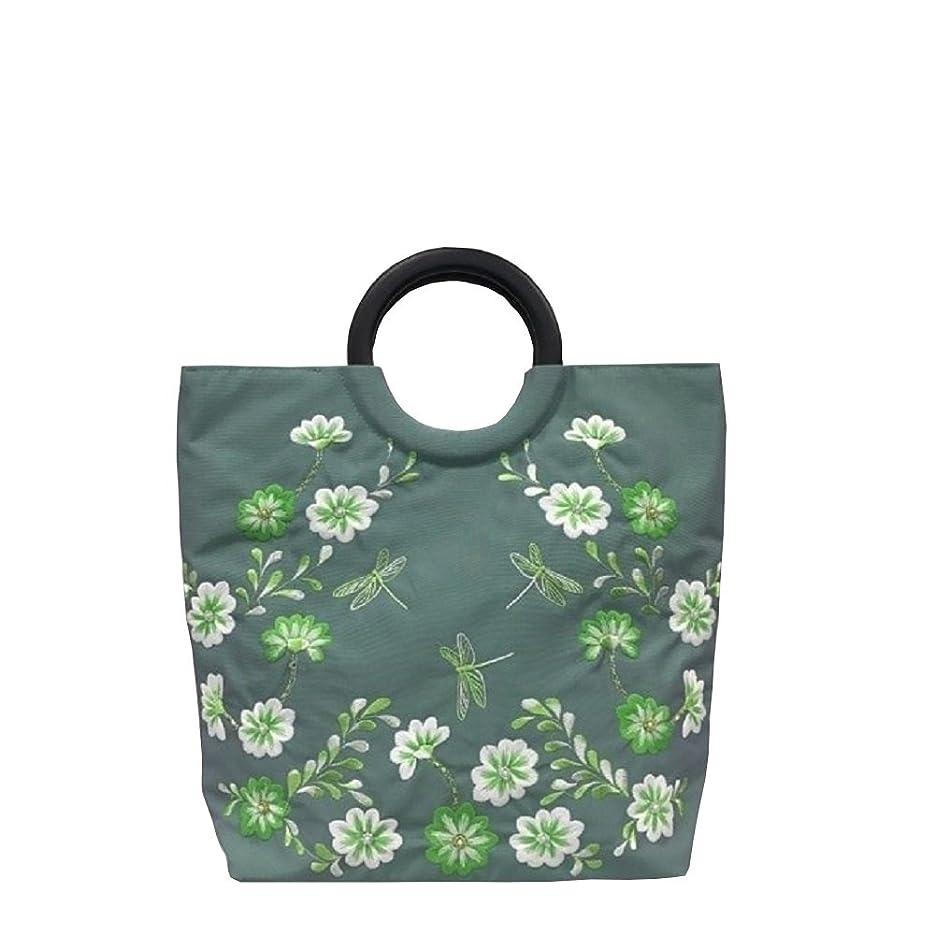 レンダー変動する群集ベトナムバッグ シルク 両面刺繍 ビーズ ハンドバッグ 手提げ 鞄 ベトナム雑貨