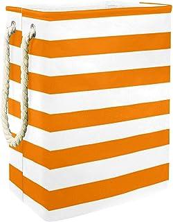 EZIOLY Panier à linge pliable à rayures orange et blanc avec poignées et supports amovibles pour organiser les vêtements, ...