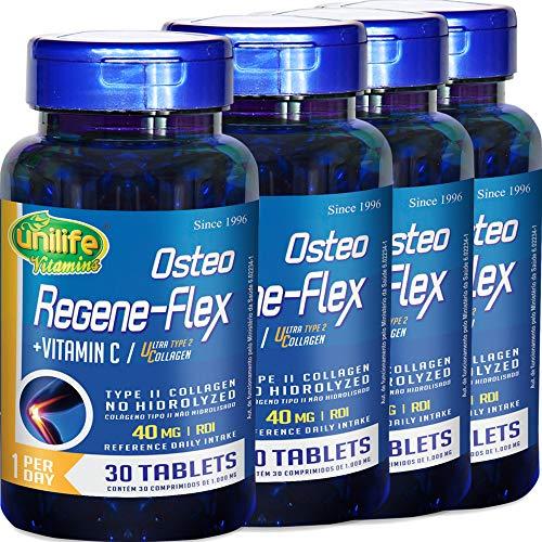 Kit com 4 Frascos de Colágeno Tipo 2 (UC2) Osteo Regeneflex 30 Comprimidos Unilife