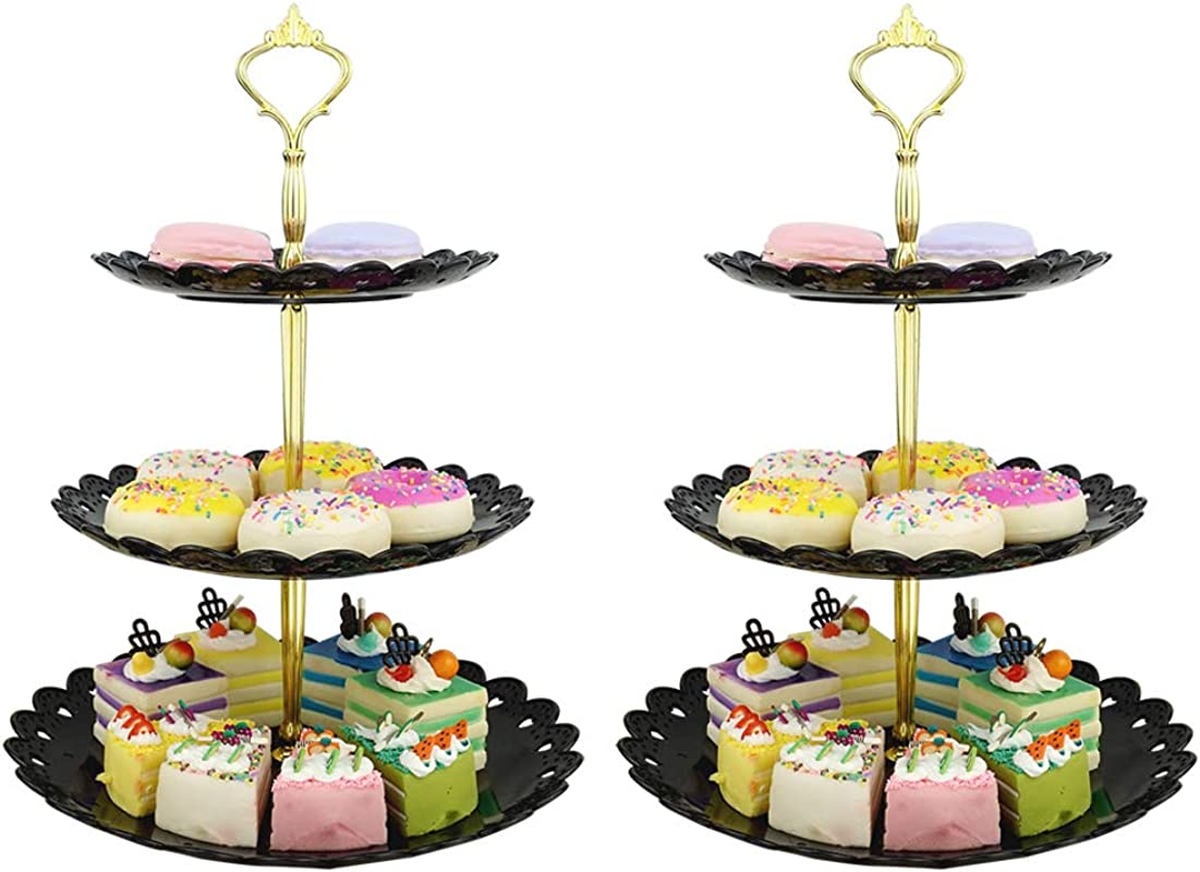 LIONWEI LIONWELI 3 Tier Black Gold Plastic Dessert Stand Pastry Stand Cake Stand Cupcake Stand Holder Serving Platter For Party Wedding Home Decor Large Set Of 2