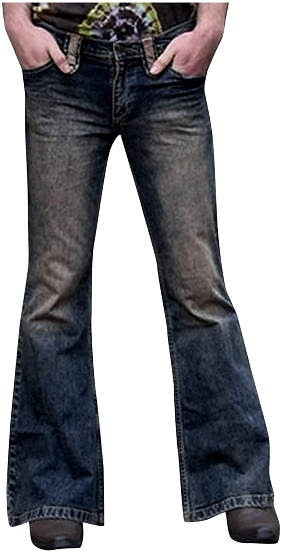 LEIYAN Mens Vintage Bell Bottom Jeans Classic Retro High Waist Bootcut Flared Jean Wide Leg Pants