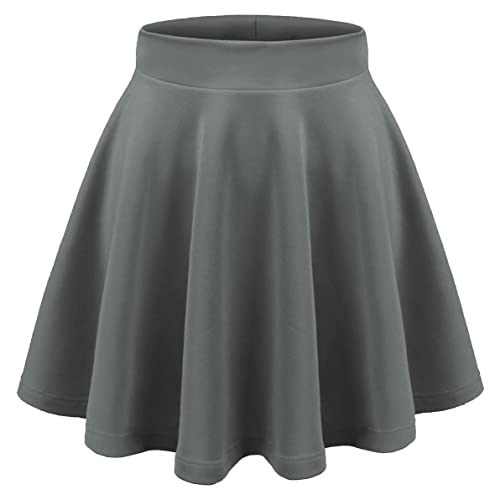 ac7273840224 Aenlley Womens Basic Shirts Stretchy Short Pleated Circle Flared Skater  Skirt
