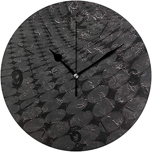 L.Fenn wandklok rond zwart-wit patroon lijndiameter silent decoratief voor home kantoor keuken slaapkamer
