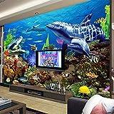 Papel tapiz mural no tejido 3D de tamaño personalizado para decoración de habitación de niños dibujos animados mundo submarino acuario TV papel de pared de fondo