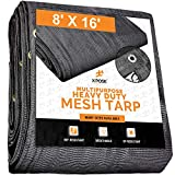 Xpose Safety Heavy Duty Mesh Tarp – 8' x 16' Multipurpose Black Protective Cover with Air Flow - Use for Tie Downs, Shade, Fences, Canopies, Dump Trucks – Waterproof, Weather and Tear Resistant