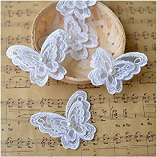 Toonol 10piece White Organza Embroidery Fabric Lace Clothes 3D Beading Butterfly Flower Patch Chiffon Dress Applique