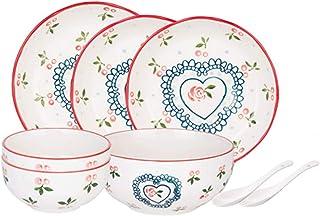 Dinnerware Sets مجموعة أواني المطبخ من 8 قطع، خدمة ل 2، لوحة عشاء نمط الكرز مجموعات لوحات السيراميك لطيف مجموعة، ميكروويف ...