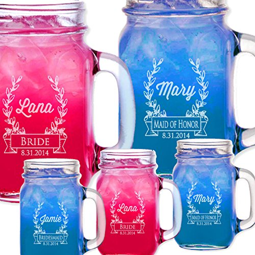 1 Retro Wreath Wedding Mason Jar Bridesmaids Gifts for Groomsmen Drinking Mason Mugs with Handle Engraved Custom Etched with Name and Date for Wedding, Engagement Anniversary Bridal Party Gift or a Favor Idea for Groomsmen Bridesmaids Gifts Etched Laser Gift Idea Wholesale Bulk Quantity Discounts