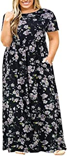Plus Size Short Sleeve Long Maxi Dress Vintage Casual Dress with Pockets