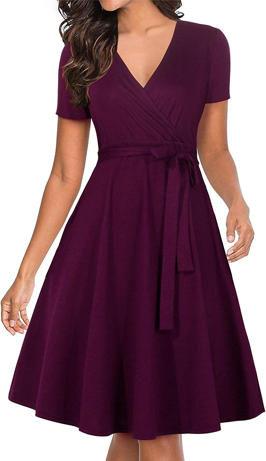 Manydress Women's V Neckline Fit and Flare Vintage Swing Midi Cocktail Party Wrap Dress with Pocket