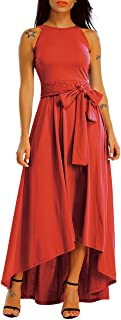 Lalagen Womens Plus Size Sleeveless Belted Party Maxi Dress with Cardigan