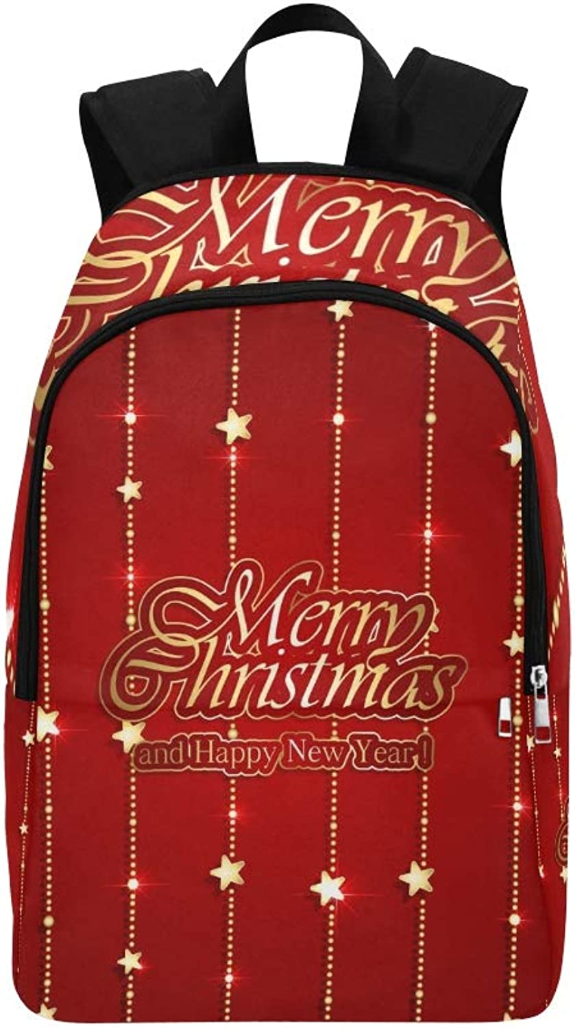 Christmas Garland Shiny Stars On Red Casual Daypack Travel Bag College School Backpack for Mens and Women