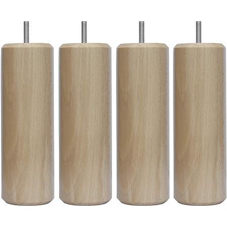 Margot 3700527817644 Cylindre Lot de 4 Pieds de Sommier, Vernis Naturel, Hauteur 15 cm