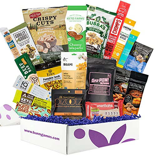 Deluxe KETO Snacks Gift Box: Mix of Low Sugar High Fat Ketogenic Diet Snacks,Protein Bars, Beef Sticks & Pork Rinds,Perfect Low Carb Keto Gift Basket
