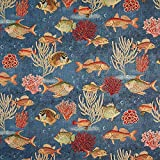 Fabulous Fabrics Jacquard Gobelin Fische – blau —