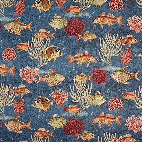 Fabulous Fabrics Jacquard Gobelin Fische – blau — Meterware ab 0,5m — zum Nähen von Dekoration, Tagesdecken und Tischdecken
