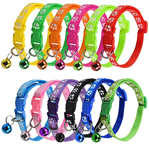 12 Stück Katzenhalsband mit Glocke Sicherheitsverschluss Verstellbare Haustierhalsbänder aus Kunststoff für Katzen Verstellbar 19–32 cm für Katzen, Hunde, Kleine Haustiere