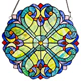 River of Goods Mini Halston Heart 12 Inch High Stained Glass Suncatcher Window Panel Blue Yellow Red