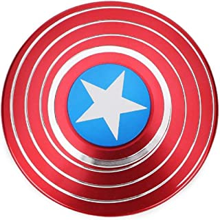TOGETHER BEST COOPERATION Fidget Hand Spinner, Captain Shield America Designed Anti-Anxiety Stress Relief Toy Fidget Spinner EDC ADD ADHD Focus Toy for Kids and Adults Red & Blue Spiral