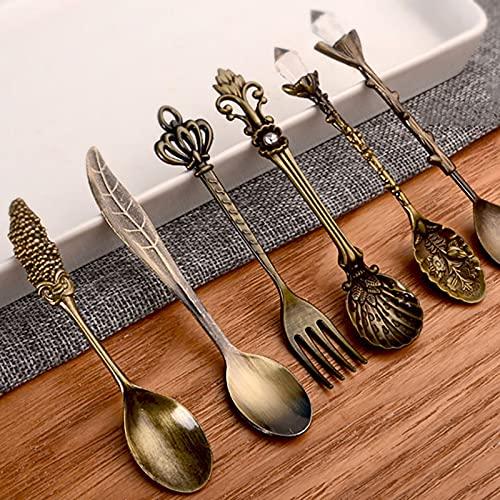 XKMY Cuchara 6 cucharas vintage tenedor mini estilo real bronce color metal tallado café fruta postre tenedor agitador cucharadita herramienta de cocina (color: 6 piezas de bronce)
