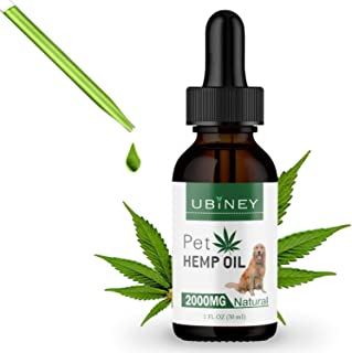 Pet Hemp Oil for Dogs and Cats – Promotes Separation Anxiety Relief, Joint Pain Reduction and Appetite – 100% Organic with...