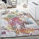 Paco Home Alfombra Moderna Efecto Lienzo con Dibujo Ornamental Floral Multicolor Crema Turquesa, tamaño:160x230 cm