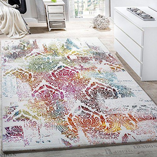 Paco Home Teppich Modern Leinwand Optik Teppich Floral Ornament Muster Bunt Creme Türkis, Grösse:120x170 cm