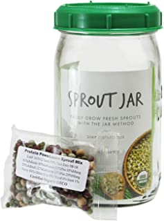 Handy Pantry Complete Sprouting Jar Lid Kit With Seeds   Includes Wide Mouth Quart Mason Jar, BPA Free Sprouting Strainer Lid, And Organic Sprouting Seeds