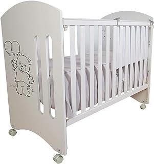 Cuna para bebé, modelo Oso Dormilón + Colchón Viscoelástica + edredón y chichonera Celeste (caja musical de regalo)
