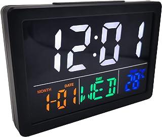FLAMEER Bordsskiva LED digital väckarklocka tid temp dag luftfuktighet display sängkant klocka lätt att läsa arbetsrum sov...
