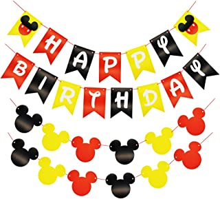 CHuangQi ColorfulHappy Birthday Banner with Mickey Style Bunting, Mickey-themed Birthday Party Supplies