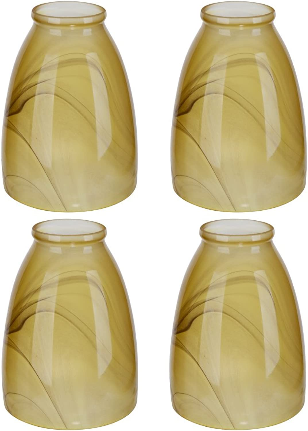 Aspen Creative 23006-4 2-1 8  Fitter Size 5-1 4  high x 4-1 8  Diameter Transitional Style Replacement Amber Swirl Art Glass Shade (4 Pack)
