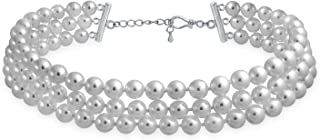 Bridal Hand Knotted 3 Row Wide Grey Pink White Simulated Pearl Strand Choker Collar Necklace for Women for Teen Prom