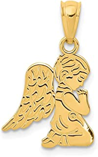 14k Yellow Gold Praying Angel Boy Pendant Charm Necklace Religious Fine Jewelry For Women