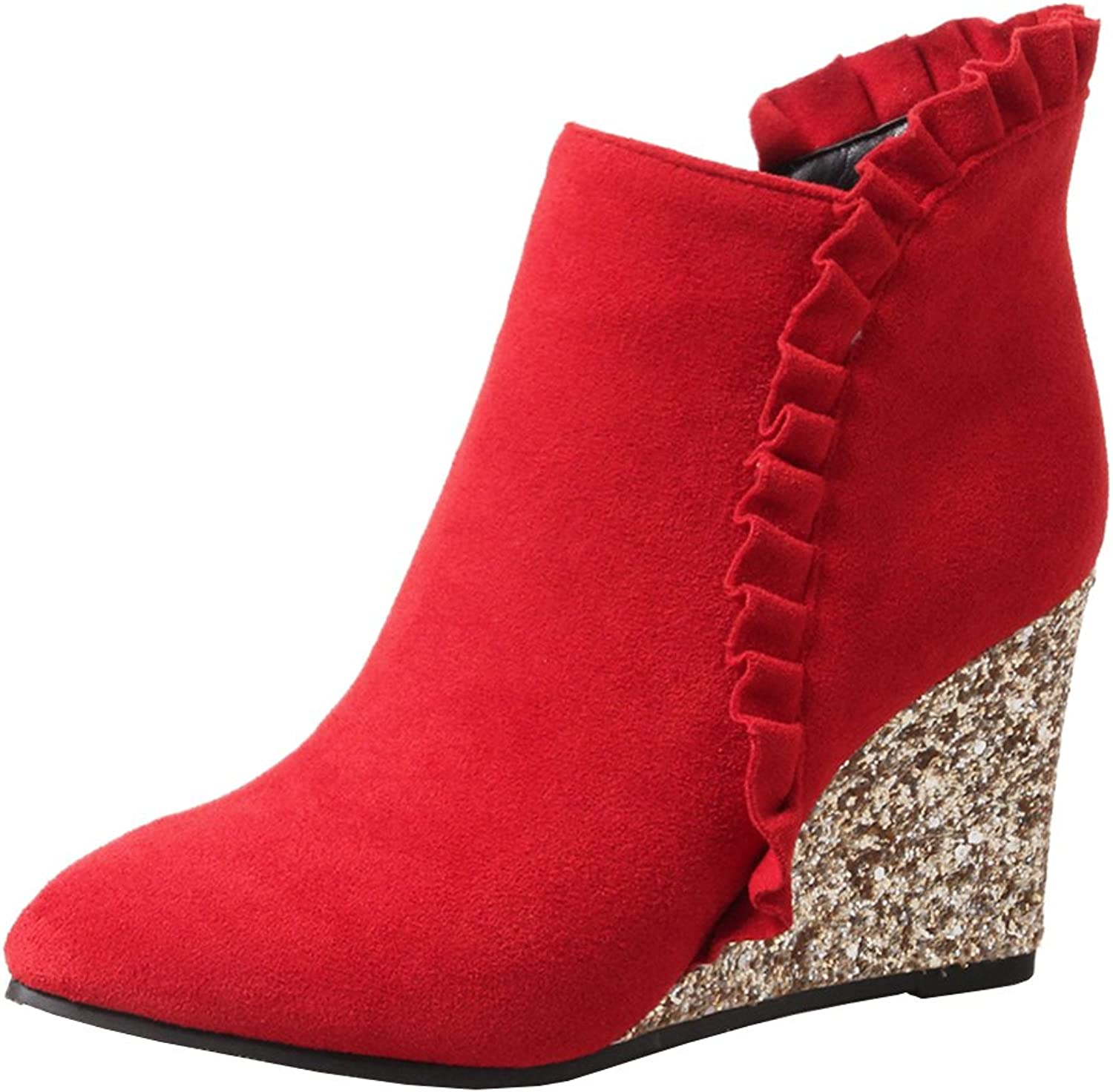 Agodor Women's High Wedge Heel Lace Ankle Boots with Zip Elegant Pointed Toe Autumn Winter shoes
