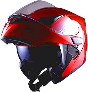 1Storm Motorcycle Modular Full Face Helmet Flip up Dual Visor Sun Shield: HB89 Glossy Red